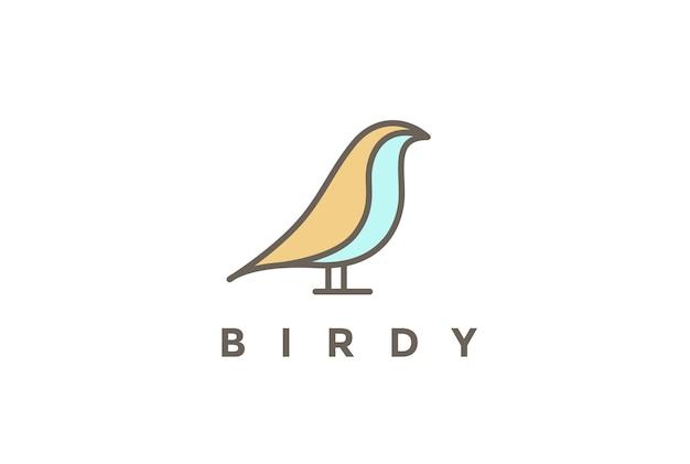 Sitzender vogel-logo-linearer stil lokalisiert auf weiß Kostenlosen Vektoren