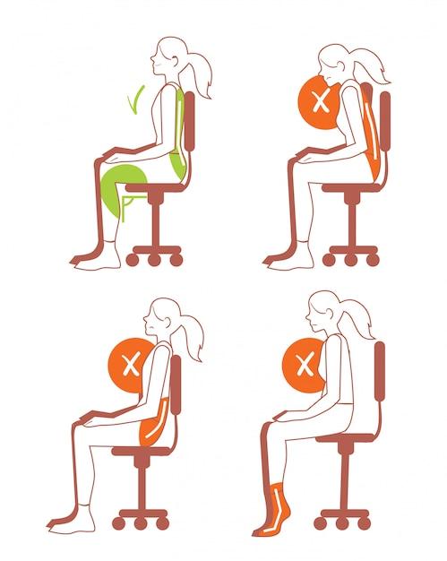 Sitzpositionen, korrekte wirbelsäulenhaltung Premium Vektoren