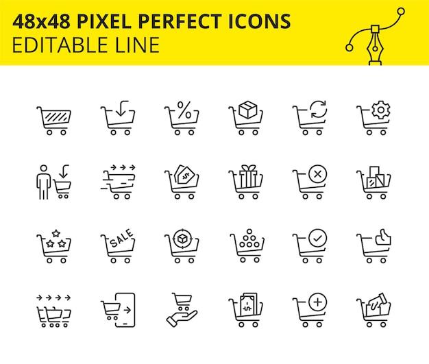 Skalierte symbole für warenkorb und handel Premium Vektoren