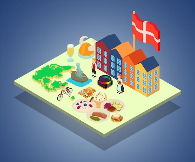 Skandinavien-konzeptfahne, isometrische art Premium Vektoren