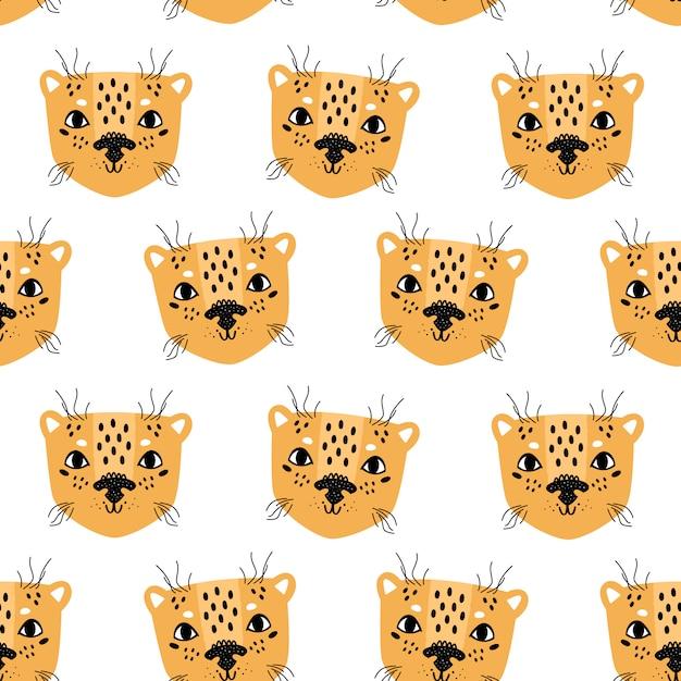 Skandinavische art des nahtlosen musters des leoparden Premium Vektoren