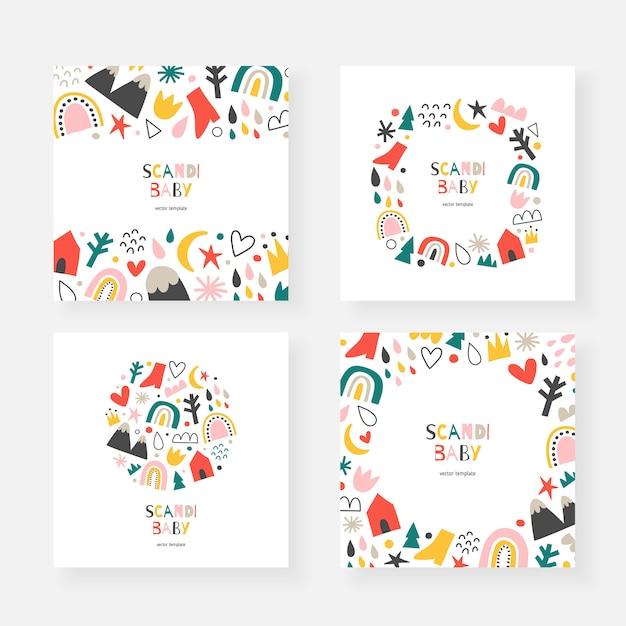 Skandinavische babykartenvorlagen mit kopierraum, dekorative rahmen mit gekritzelillustrationen Premium Vektoren