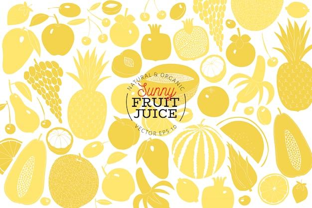 Skandinavische hand gezeichnete fruchtdesignschablone. Premium Vektoren
