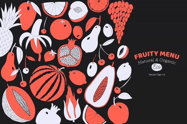 Skandinavische hand gezeichnete fruchtschablone. Premium Vektoren