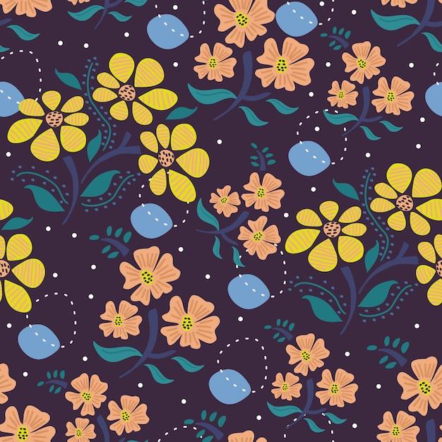 Skandinavisches zeichnungsblumenmit blumenmuster Premium Vektoren