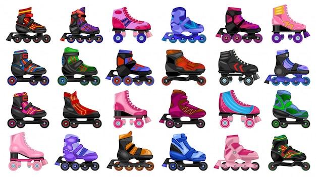 Skate roller cartoon set symbol. illustration rollschuh auf weißem hintergrund. cartoon set icon skate roller. Premium Vektoren