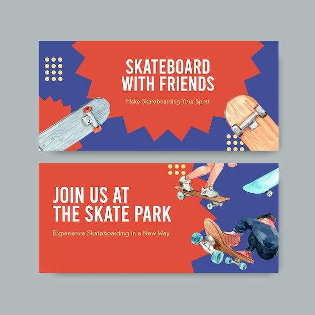 Skateboard design konzept banner aquarell vektor-illustration. Kostenlosen Vektoren