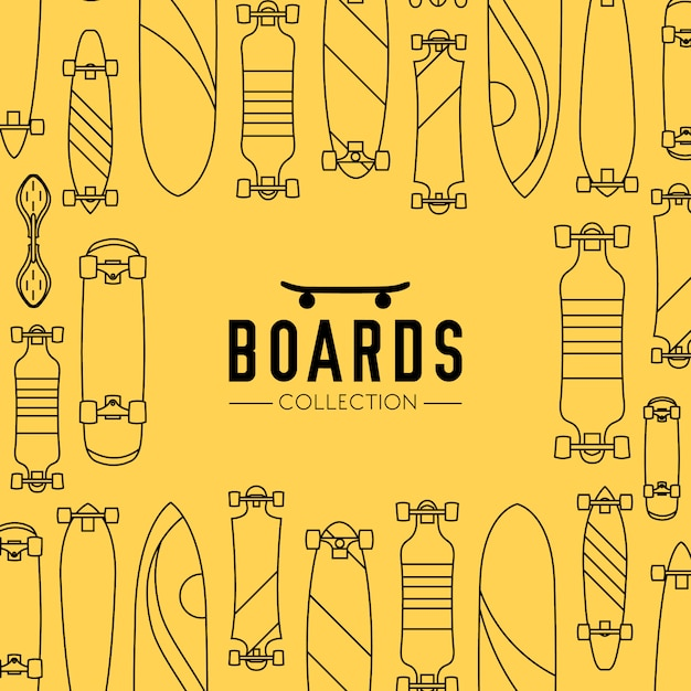 Skateboard und skateboard sammlung hintergrund mit skateboards Kostenlosen Vektoren