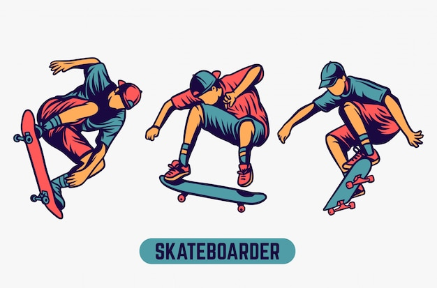Skateboardfahrer farbiger illustrationssatz Premium Vektoren