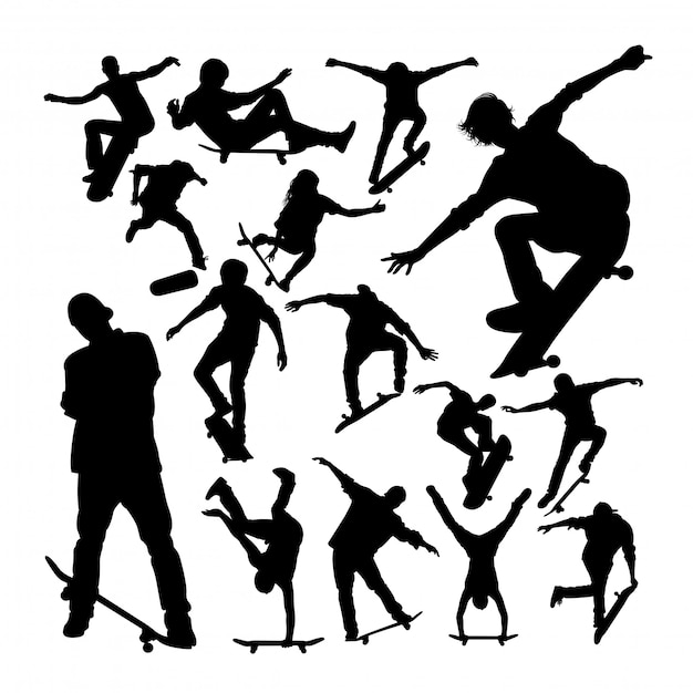 Skater, der skateboardschattenbilder spielt Premium Vektoren
