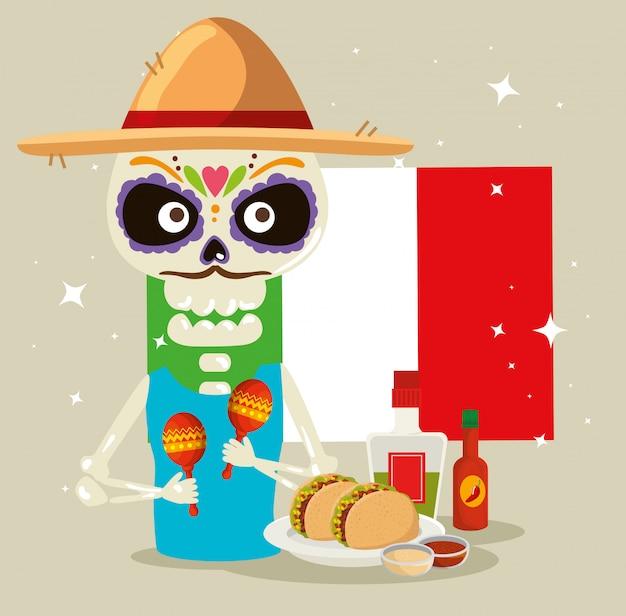 Skeleton mann mit mexiko mann und tacos Kostenlosen Vektoren