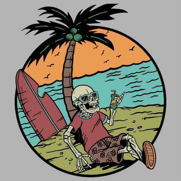 Skelett, das mit cocktail sommer und strand kühlt Premium Vektoren