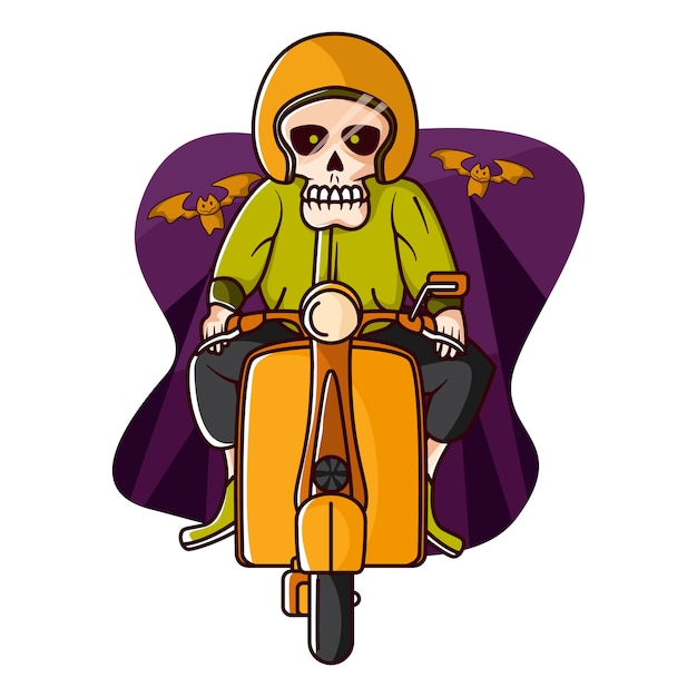Skelett in der vespa in halloween Premium Vektoren