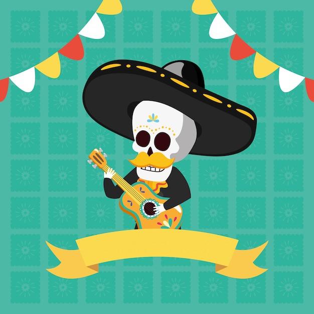 Skelett spielt gitarre Kostenlosen Vektoren