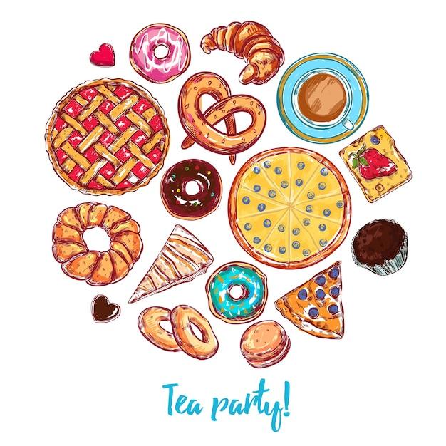 Sketch bakery round Kostenlosen Vektoren