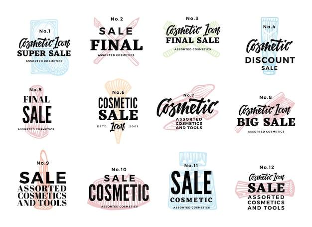 Sketch cosmetic logotypes set Kostenlosen Vektoren
