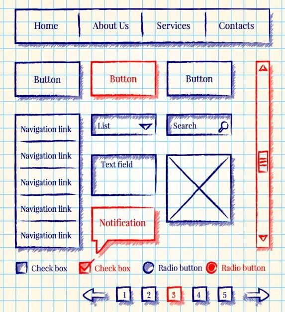 Sketch Drahtmodell Sammlung | Download der kostenlosen Vektor