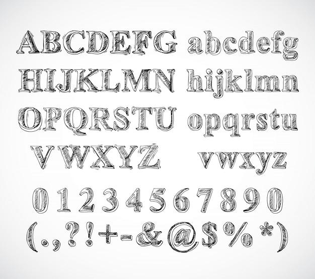 Sketch Hand Gezeichnet Alphabet Schwarz Und Weiß Schriftart