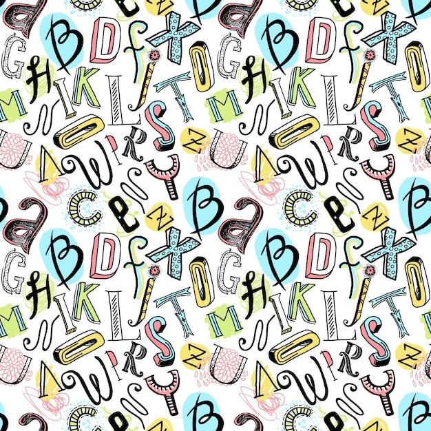 Sketch Hand gezeichnet doodle farbigen Alphabet Buchstaben nahtlose ...