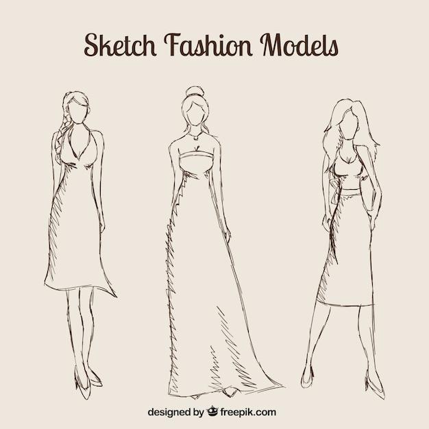 Sketch mode-modelle Kostenlosen Vektoren