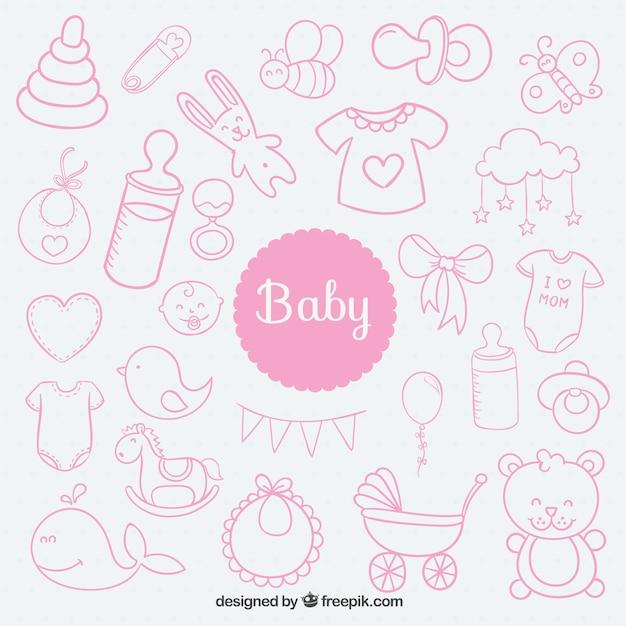 Sketchy baby elemente Kostenlosen Vektoren