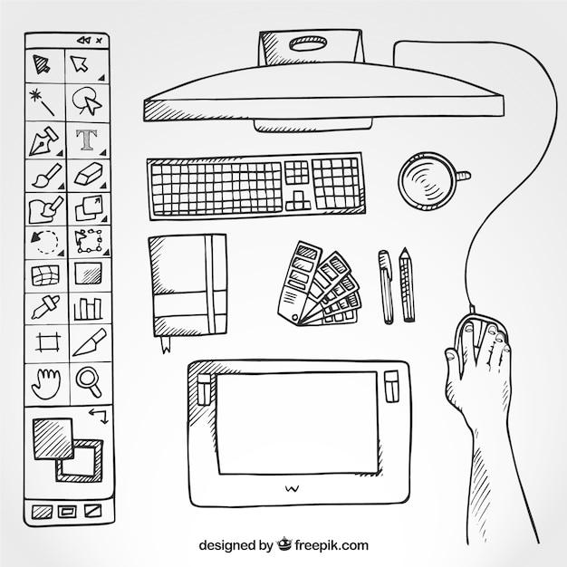 Sketchy grafik-designer schreibtisch in draufsicht Kostenlosen Vektoren