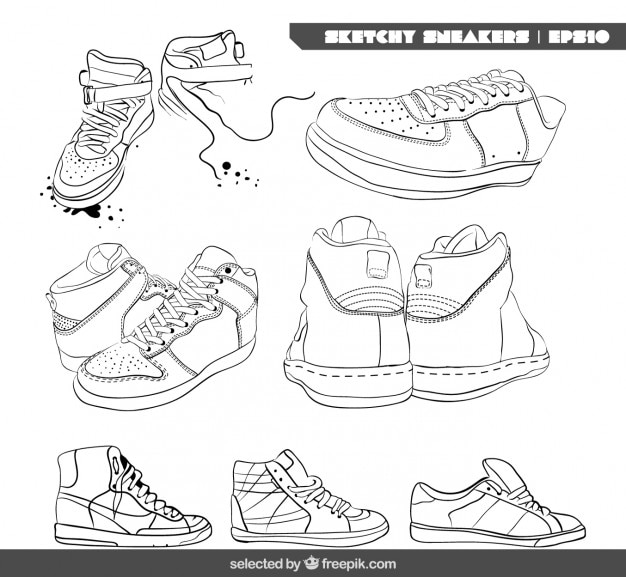 Sketchy sneaker kollektion Kostenlosen Vektoren