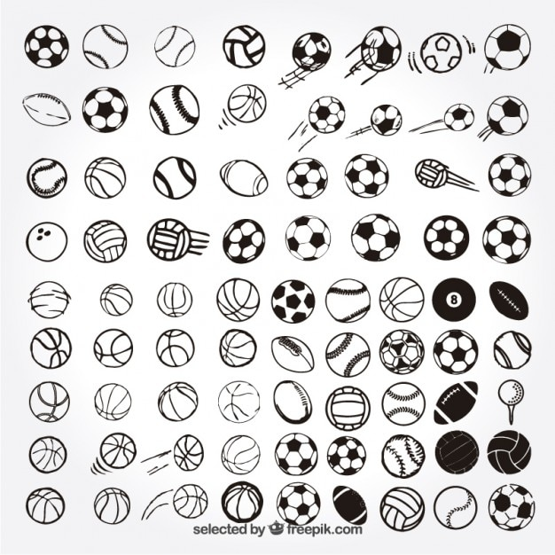 Sketchy sportbälle Kostenlosen Vektoren