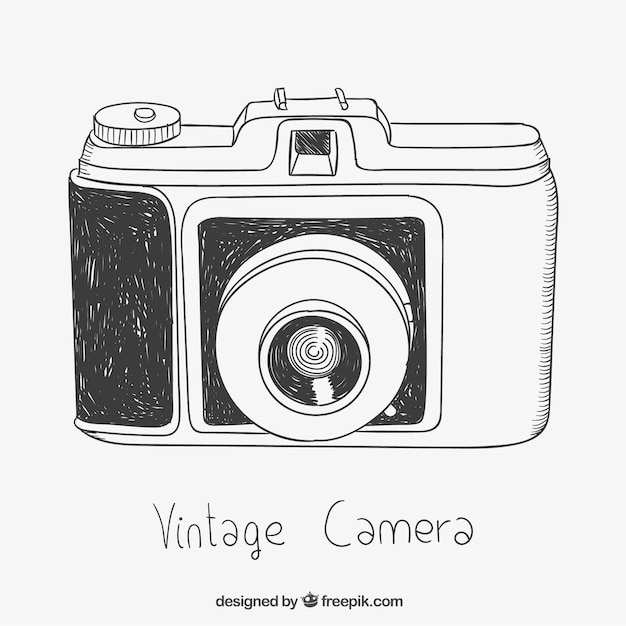 Sketchy vintage kamera Kostenlosen Vektoren