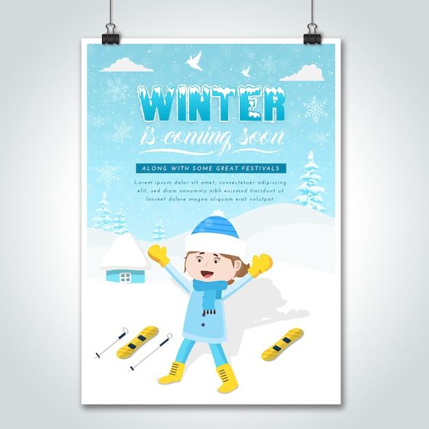 Ski girl cartoon winter poster Premium Vektoren