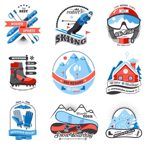 Ski resort embleme gesetzt Kostenlosen Vektoren