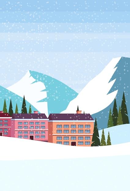 Ski resort hotel Premium Vektoren