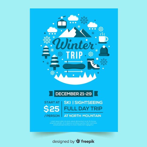 Ski trip flyer vorlage Kostenlosen Vektoren