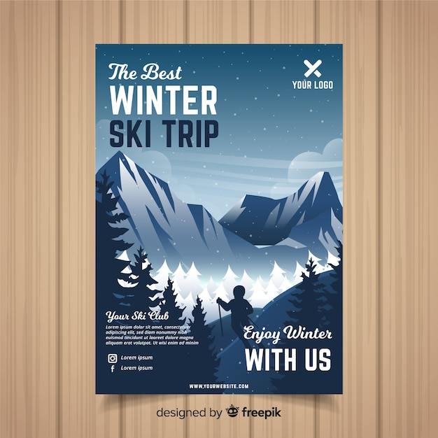 Ski-trip-flyer-vorlage Kostenlosen Vektoren