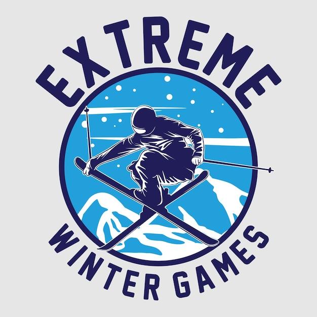 Ski winter spielgrafik Premium Vektoren