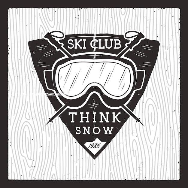 Skiclubabzeichen. winterabenteuerkarte. Premium Vektoren