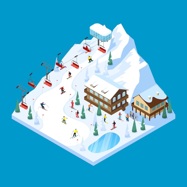 Skifahren-gebirgsisometrische landschaft Kostenlosen Vektoren