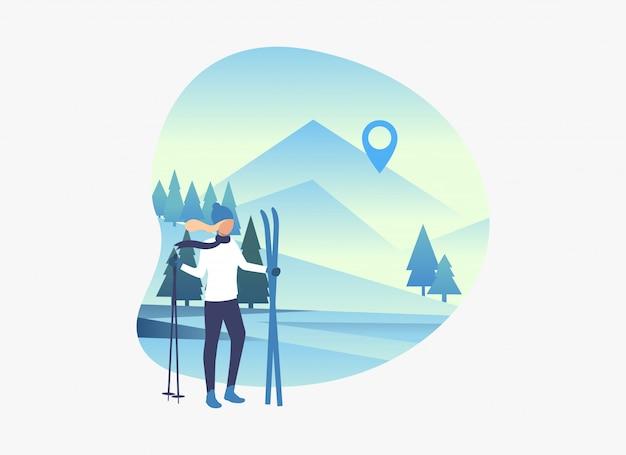 Skifahrerfrau, die skis und pfosten mit schneebedeckter landschaft hält Kostenlosen Vektoren
