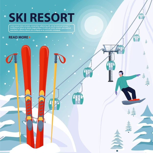 Skigebiet banner illustration. Premium Vektoren