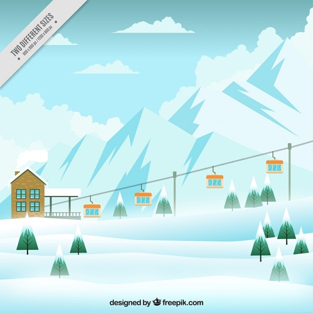 Skigebiet hintergrund mit sessellift Kostenlosen Vektoren
