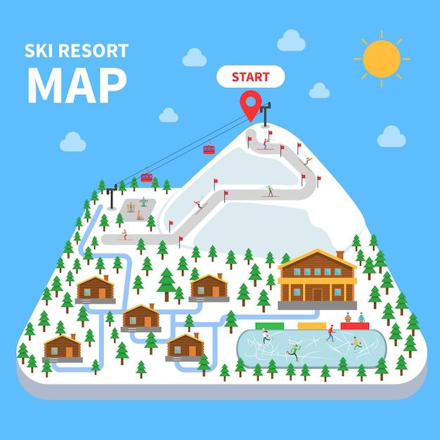 Skigebiet karte Kostenlosen Vektoren