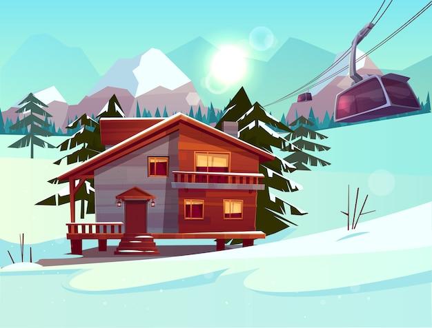 Skigebiet mit haus oder chalet, standseilbahn auf seilbahn heben Kostenlosen Vektoren
