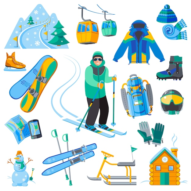 Skigebietsikonen eingestellt mit wintersportausrüstung Kostenlosen Vektoren