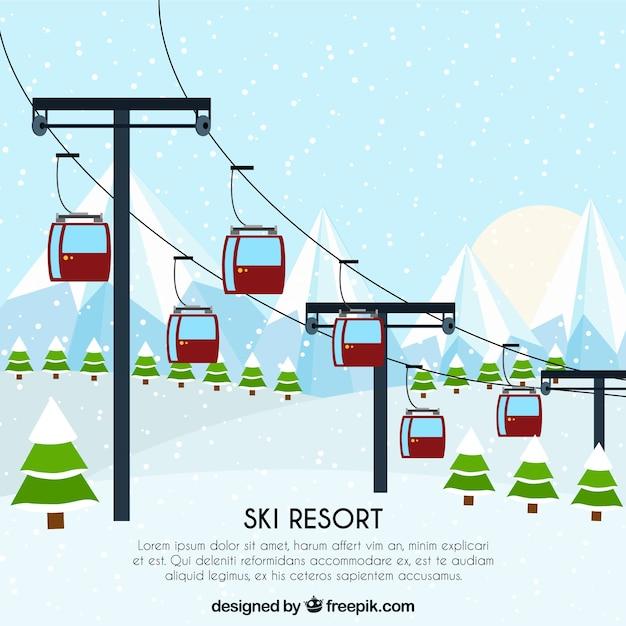 Skilift design Kostenlosen Vektoren