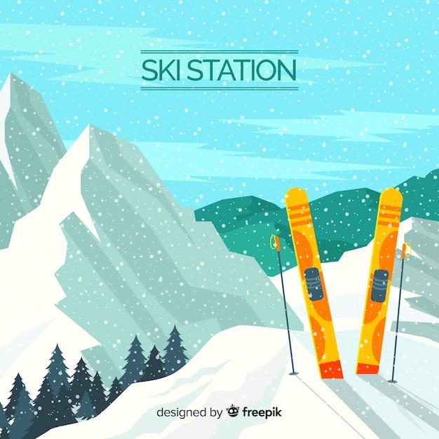 Skistation realistischer hintergrund Kostenlosen Vektoren