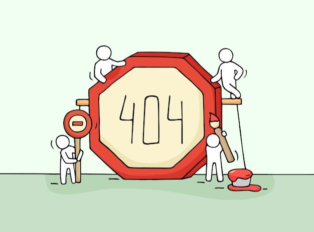 Skizze der arbeitenden kleinen leute mit fehlerzeichen 404. kritzeln sie niedliche miniaturszene der arbeiter mit webseiten-symbol. Premium Vektoren