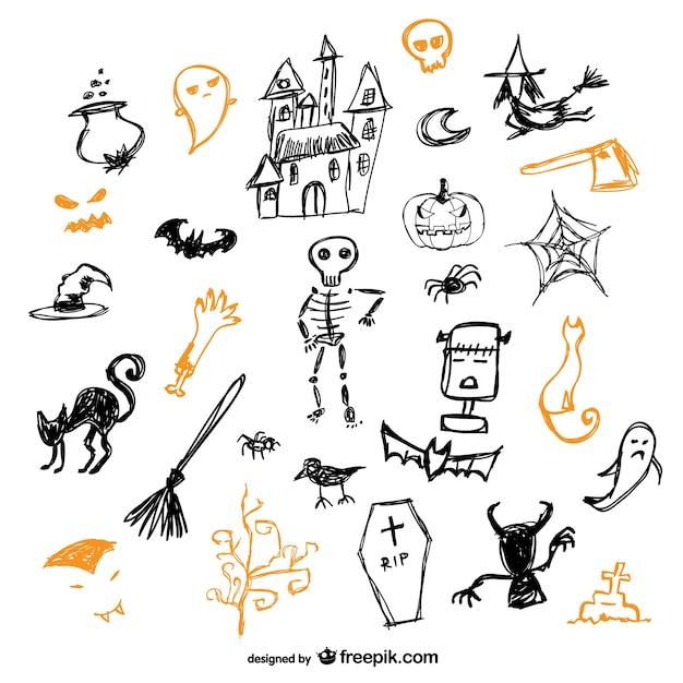 Skizze der halloween-symbole vektor-set Kostenlosen Vektoren