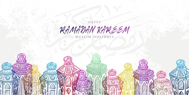 Skizze der hand gezeichneten banner ramadan kareem laterne Premium Vektoren