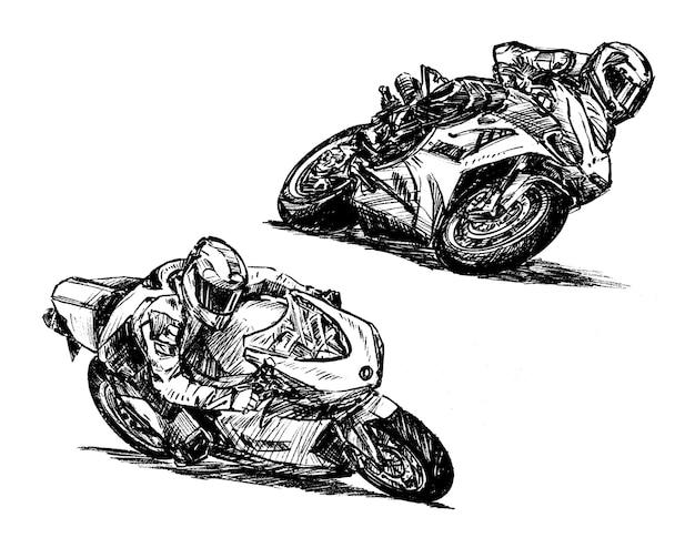 Skizze der handzeichnung der motorradrennsammlung Premium Vektoren