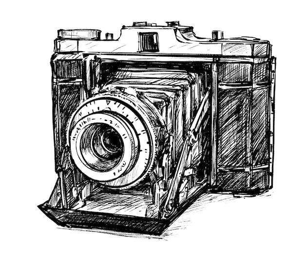 Skizze der vintage kamera handzeichnung Premium Vektoren